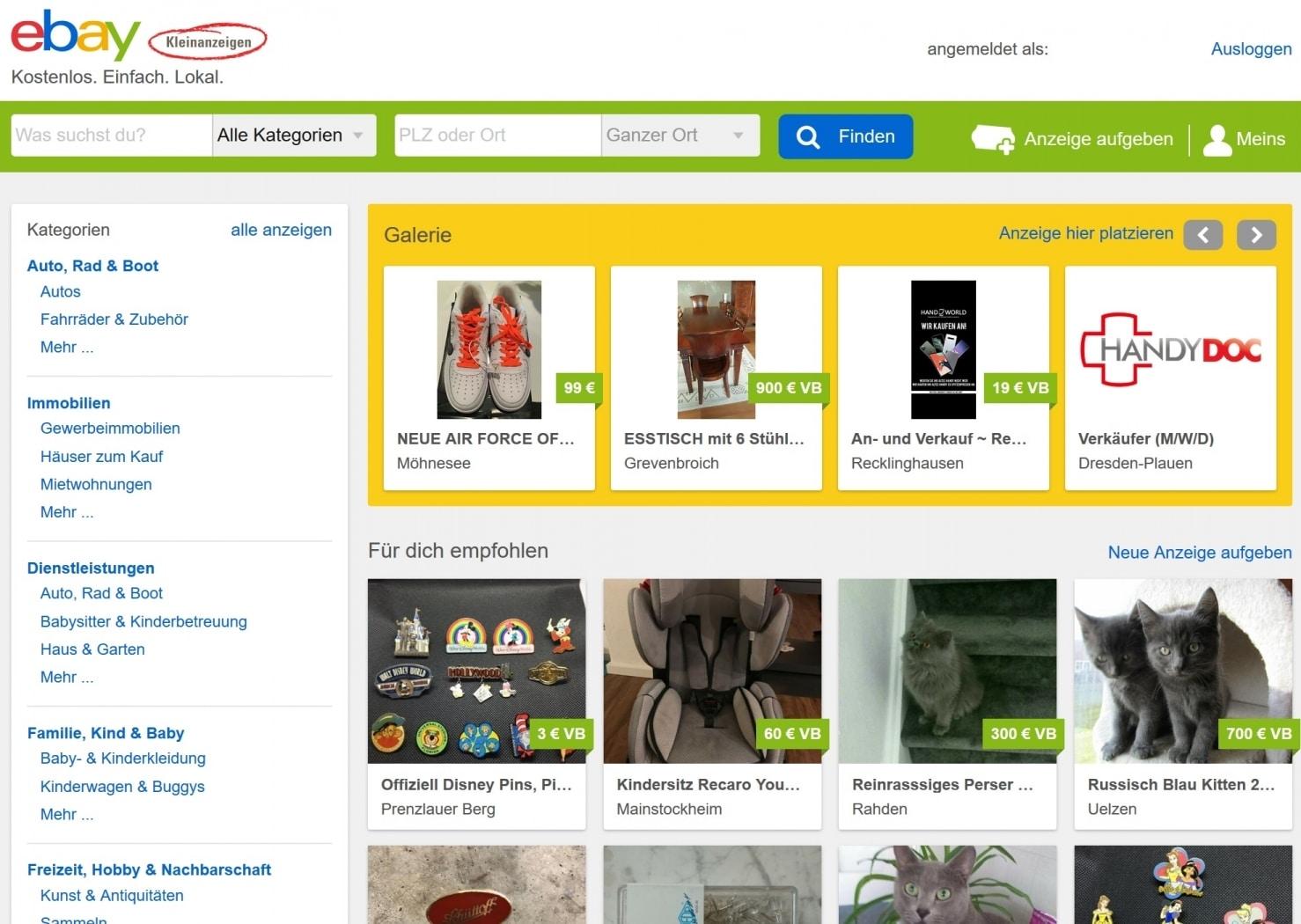 ebay-Kleinanzeigen 1 Vergleich