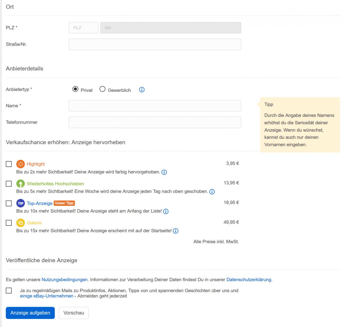 ebay-Kleinanzeigen 5 Vergleich
